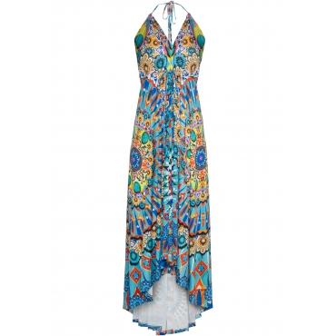 Kleid mit print ohne Ärmel  in blau von bonprix