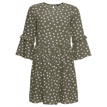 Kleid mit Pünktchen 3/4 Arm  in grün von bonprix
