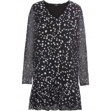 Kleid mit Punkten langarm  in schwarz für Damen von bonprix