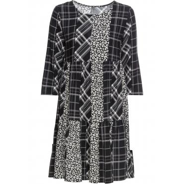 Kleid mit Punkten und Karodruck langarm  in schwarz von bonprix