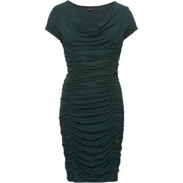 Kleid mit Raffung kurzer Arm  in grün von bonprix