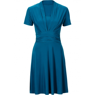 Kleid mit Raffung kurzer Arm  in petrol von bonprix
