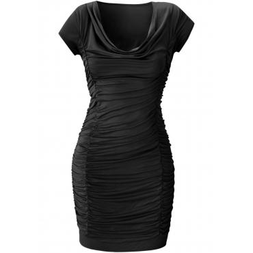 Kleid mit Raffung kurzer Arm  in schwarz von bonprix