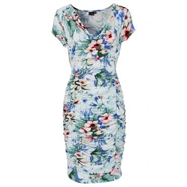 Kleid mit Raffung/Sommerkleid kurzer Arm  in weiß von bonprix