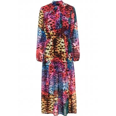 Kleid mit Schleife und Print langarm  in gelb von bonprix