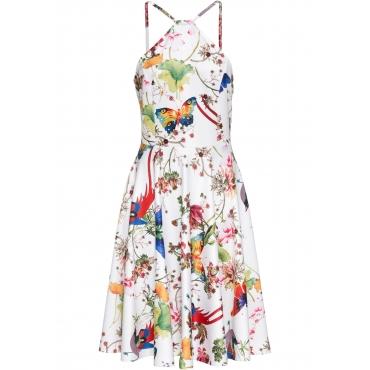 Neckholder-Kleid mit Schmetterlingen ohne Ärmel  in weiß für Damen von bonprix