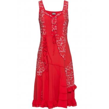 Kleid mit Schnürung ohne Ärmel  in rot für Damen von bonprix
