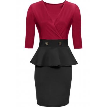 Stretch-Kleid mit Schößchen 3/4 Arm  in rot für Damen von bonprix