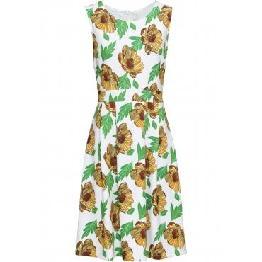 Kleid mit Sonnenblumen ohne Ärmel  in weiß für Damen von bonprix