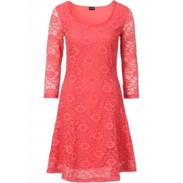 Kleid mit Spitze 3/4 Arm  in rot von bonprix