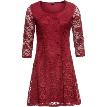 Kleid mit Spitze 3/4 Arm  in rot für Damen von bonprix