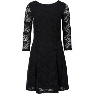 Kleid mit Spitze 3/4 Arm  in schwarz für Damen von bonprix