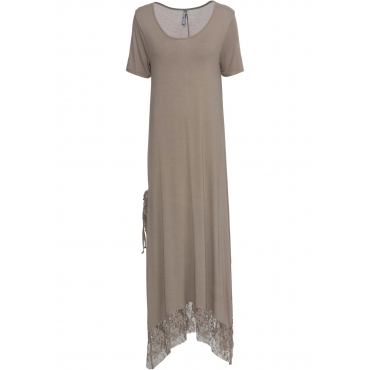 Kleid mit Spitze kurzer Arm  in braun für Damen von bonprix