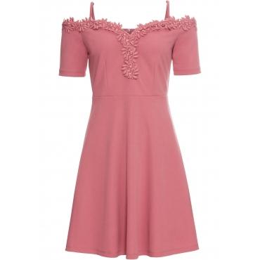 Kleid mit Spitze kurzer Arm  in lila von bonprix