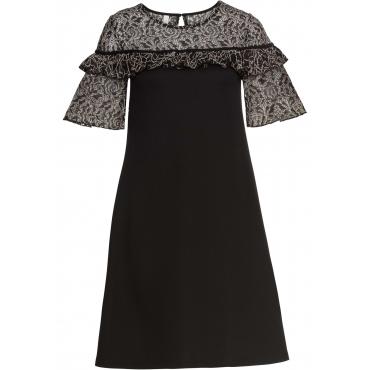 Kleid mit Spitze kurzer Arm  in schwarz für Damen von bonprix