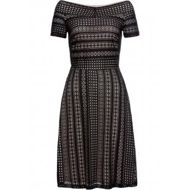 Kleid mit Spitze kurzer Arm  in schwarz von bonprix