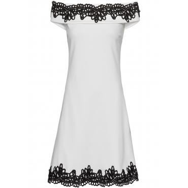 Carmen-Kleid mit Spitze in weiß für Damen von bonprix