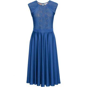 Kleid mit Spitze ohne Ärmel  in blau von bonprix