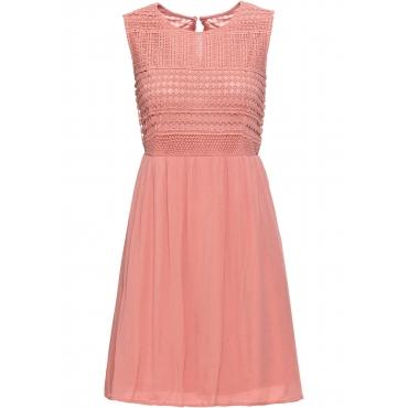 Kleid mit Spitze ohne Ärmel  in orange für Damen von bonprix
