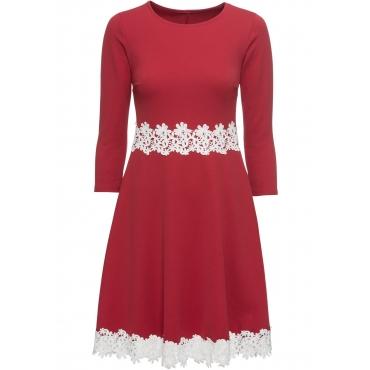 Kleid mit Spitze ohne Ärmel  in rot  von bonprix