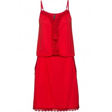 Jerseykleid mit Spitze ohne Ärmel  in rot für Damen von bonprix