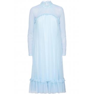Kleid mit Spitze und Applikationen langarm  in blau von bonprix