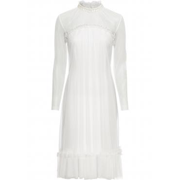 Kleid mit Spitze und Applikationen langarm  in weiß von bonprix