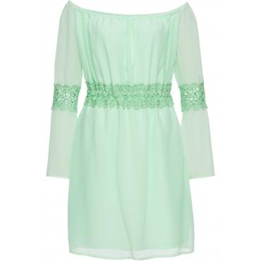 Kleid mit Spitzeneinsatz langarm  in grün von bonprix