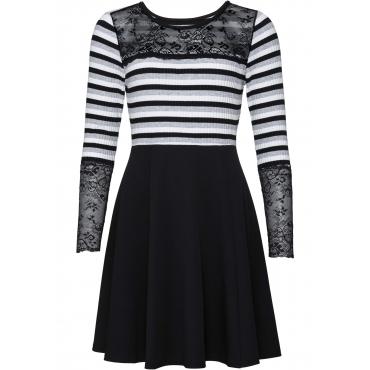Kleid mit Spitzeneinsatz langarm  in schwarz von bonprix