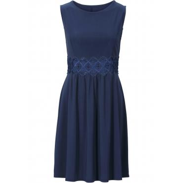 Jerseykleid mit Spitzeneinsatz ohne Ärmel  in blau für Damen von bonprix