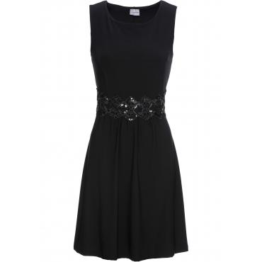 Jerseykleid mit Spitzeneinsatz ohne Ärmel  in schwarz für Damen von bonprix