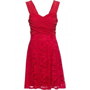 Kleid mit Spitzenrock ohne Ärmel  in pink für Damen von bonprix
