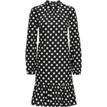 Kleid mit Stehkragen langarm  in schwarz von bonprix