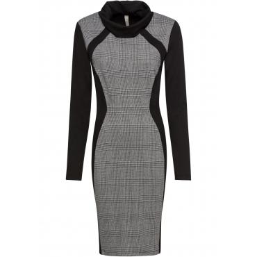 Stretch-Kleid mit Stehkragen langarm  in schwarz für Damen von bonprix
