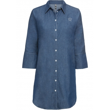 Kleid mit Stickerei halber Arm  in blau von bonprix