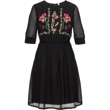 Kleid mit Stickerei halber Arm  in schwarz für Damen von bonprix