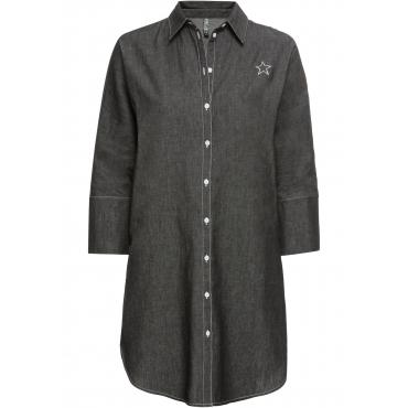 Kleid mit Stickerei halber Arm  in schwarz von bonprix