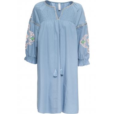 Kleid mit Stickerei langarm  in lila für Damen von bonprix