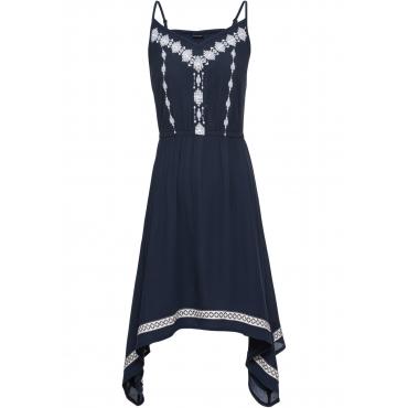 Kleid mit Stickerei ohne Ärmel  in blau von bonprix
