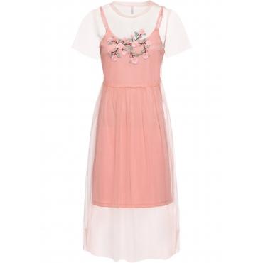 Kleid mit Stickerei ohne Ärmel  in rosa von bonprix