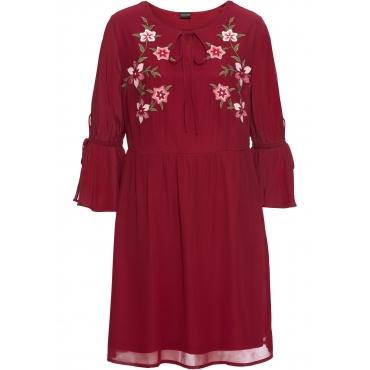 Kleid mit Stickerei und Volants 3/4 Arm  in rot von bonprix