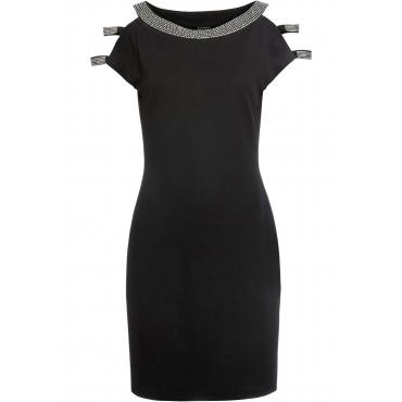 Kleid mit Strassapplikation kurzer Arm  in schwarz für Damen von bonprix