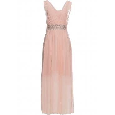 Kleid mit Strasssteinen ohne Ärmel  in pink von bonprix