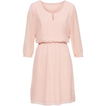 Kleid mit Struktureffekt 3/4 Arm  in rosa  von bonprix