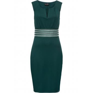 Kleid mit transparentem Netzeinsatz ohne Ärmel  in grün von bonprix