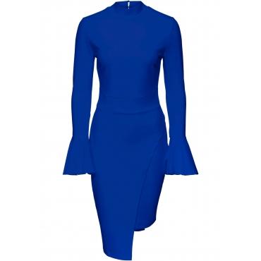 Kleid mit Trompetenärmel langarm  in blau  von bonprix