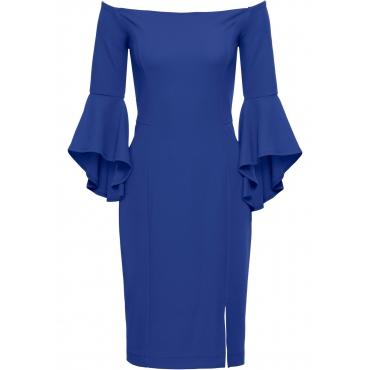 Kleid mit Trompetenärmeln 3/4 Arm  in blau  von bonprix