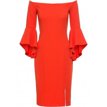 Kleid mit Trompetenärmeln 3/4 Arm  in orange  von bonprix