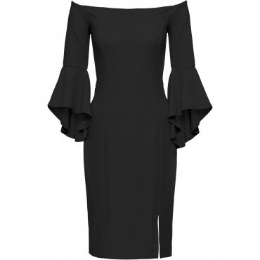 Kleid mit Trompetenärmeln 3/4 Arm  in schwarz  von bonprix