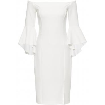Carmen-Kleid mit Trompetenärmeln in weiß für Damen von bonprix